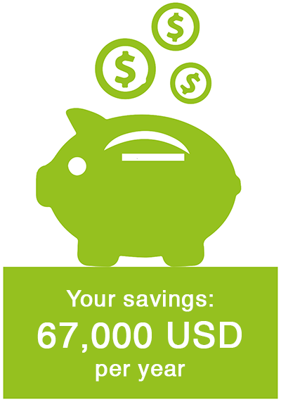 Your savings: 67,000 USD per year